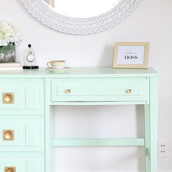 Love Grows Wild - dens/libraries/offices - Olympic - Sweet Pea - round white mirror, mint green desk, mint green vintage desk, painted vintage desk, brass ring pulls, brass desk hardware, white geometric round mirror, white chain link mirror, mint green paint, mint green paint colors,