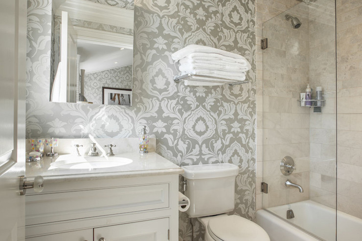 Gray damask wallpaper transitional bathroom corcoran for Gray bathroom wallpaper