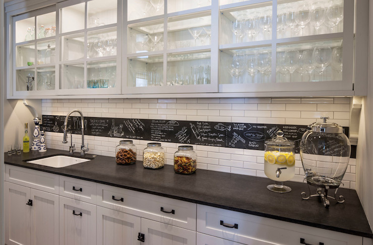 Black And White Butlers Pantry Transitional Kitchen