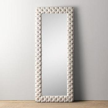 Mirrors - Chesterfield Tufted Extra-Large Leaner Mirror I RH Baby and Child - ivory linen mirror, tufted linen mirror, chesterfield tufted mirror,