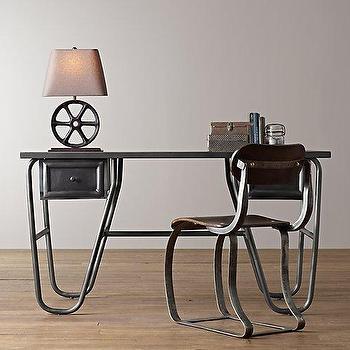 Storage Furniture - Porter Desk I RH Baby and Child - blackened steel desk, industrial steel desk, vintage industrial desk,