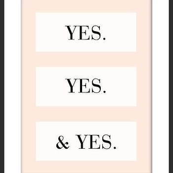 Art/Wall Decor - Yes. Yes. & Yes Print | Luciana - yes print, peach print, pastel print, typography print, handmade print