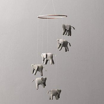 Decor/Accessories - Wool Felt Elephant Mobile I RH Baby and Child - wool elephant mobile, gray elephant mobile, elephant baby mobile, elephant nursery mobile,