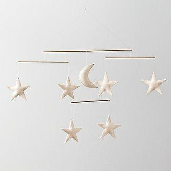 Decor/Accessories - Wool Felt Night Sky Mobile I RH Baby and Child - moon and stars mobile, felt moon and stars mobile, nights sky baby mobile,