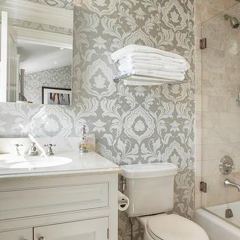 Gray Damask Wallpaper, Transitional, bathroom, Corcoran