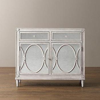 Storage Furniture - elodie Cabinet I RH Baby and Child - mirror front cabinet, antiqued mirror front cabinet, white mirror front cabinet, oval fretwork mirrored cabinet,