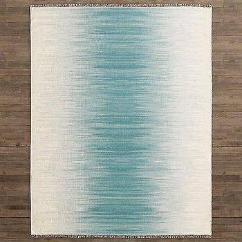 Rugs - Matra Flatweave Rug I RH Baby and Child - blue and white stripe rug, blue ikat stripe rug, blurred blue striped rug,