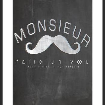 Art/Wall Decor - Monsieur Print | Luciana - monsieur print, mustache print, french print, typography print, handmade print, chalkboard print