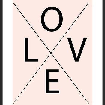 Art/Wall Decor - LOVE Geometric Print | Luciana - love print, x print, typography print, blush pink print, handmade print