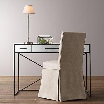 Storage Furniture - Wilshire Desk I RH Baby and Child - mirror front desk, mirrored desk, antique mirrored desk, iron and mirror desk. iron desk with mirrored drawers,