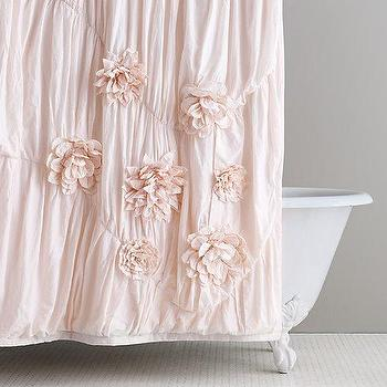 Bath - Washed Appliqued Fleur Shower Curtain I RH Baby and Child - pink applique shower curtain, pink flower shower curtain, pink flower applique shower curtain,