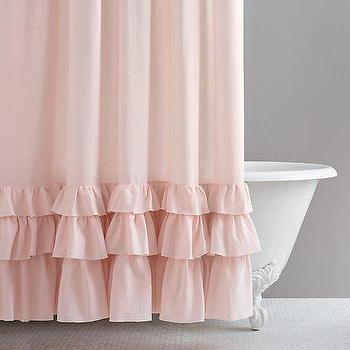 Bath - Frayed Ruffle Shower Curtain I RH Baby and Child - pink ruffle shower curtain, frayed ruffle shower curtain, pink ruffle trim shower curtain,