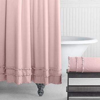 Bath - Vintage Ruffle Shower Curtain I RH Baby and Child - pink ruffled shower curtain, pink shower curtain with ruffled trim, pink cotton shower curtain,