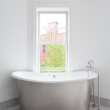 Corcoran - bathrooms - corner bathtub, corner tub, corner bathtub ideas, corner tub ideas, oval bathtub, cast iron bathtub, cast iron tub, cast iron bathtub, floor mounted tub filler, tub filler, corner window, tub under window,