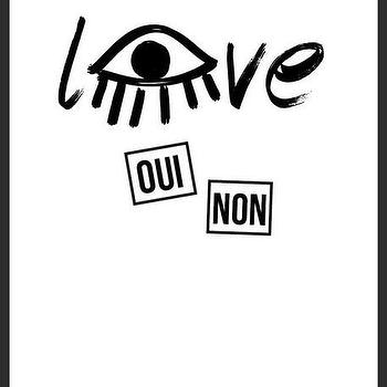 Art/Wall Decor - Love Eye Print | Luciana - love print, eye print, french print, black white print, handmade print, typography print