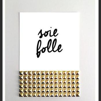 Art/Wall Decor - Soie Folle Studs Print | Luciana - soie folle print, be crazy print, french print, gold stud print, white black gold print, calligraphy print, handmade print