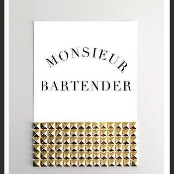 Art/Wall Decor - Monsieur Bantender Studs Print | Luciana - monsieur bartender print, french print, gold studded print, handmade print, typography print