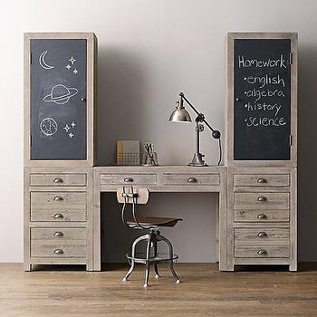 Storage Furniture - Weller Study Wall, Chalkboard Cabinet Tops I RH Baby and Child - printmakers desk, printmakers desk with chalkboard cabinets, gray wash desk, gray wash storage desk,