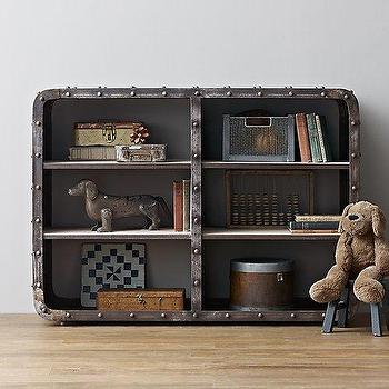 Storage Furniture - Montgomery Iron Bookcase - Wide I RH Baby and Child - iron rivet bookcase, industrial iron bookcase, low iron bookcase, kids industrial bookcase,