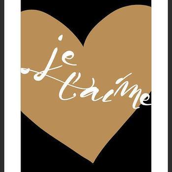 Art/Wall Decor - Je T'aime Print | Luciana - je taime print, french print, i love you print, heart print, handmade print, typography print