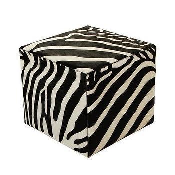 Seating - Amara Zebra Printed Cow Skin Cube Pouf - Black/White | Amara - zebra cow skin pouf, zebra pouf, square zebra print pouf,