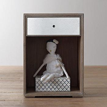 Storage Furniture - Delaney Nightstand I RH Baby and Child - mirrored drawer nightstand, kids nightstand with mirrored drawer, weathered gray mirrored nightstand,