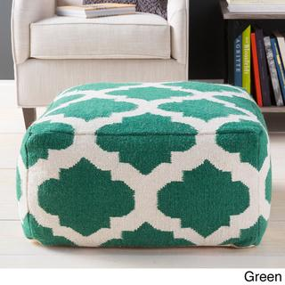Seating - Hand Crafted Morocco Trellis 24-inch Large Square Pouf | Overstock - green moroccan pouf, green and white moroccan pouf, green geometric pouf,