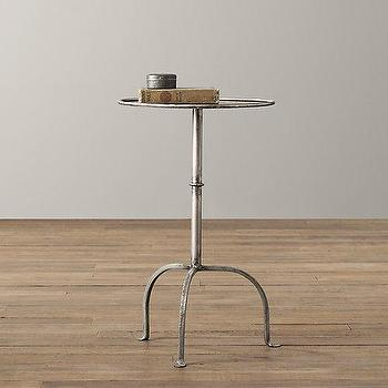 Tables - Parisian Side Table I RH Baby and Child - pewter side table, pewter tripod side table, metal tripod side table,