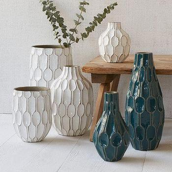Decor/Accessories - Linework Vases Honeycomb | West Elm - teal terracotta vase, white terracotta vase, white honeycomb vase, teal honeycomb vase,