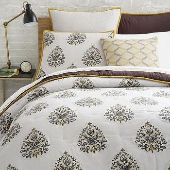 Bedding - Jay Street Kerela Quilt + Shams | West Elm - hand blocked paisley quilt, brown and yellow paisley bedding, hand blocked paisley bedding, indian paisley duvet, indian paisley quilt,