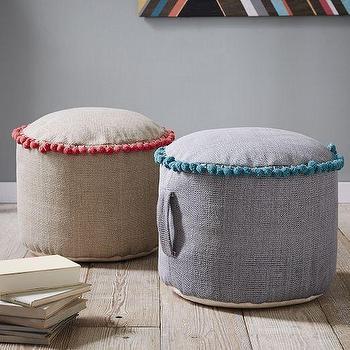 Seating - Contrast Pom Pom Pouf | West Elm - pom pom trimmed pouf, blue pom pom pouf, red pom pom pouf, pom pom tasseled pouf,