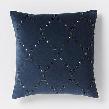 Pillows - Studded Velvet Ogee Pillow Cover - Regal Blue | West Elm - navy velvet pillow, navy velvet studded pillow, navy velvet diamond pillow,