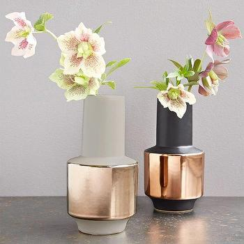Decor/Accessories - Metallic Banded Vases | West Elm - metallic banded vase, copper banded vase, copper trimmed vase,