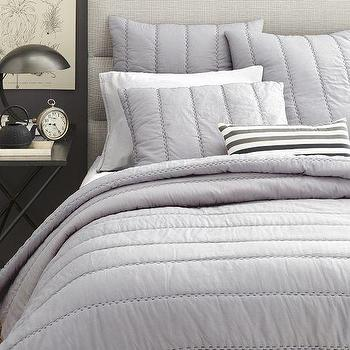 Bedding - Soft Stitch Quilt + Shams | West Elm - gray stitch quilt, gray handstitched quilt, quilt with contrast theading,