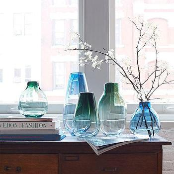 Decor/Accessories - Tinted Glass Vases | West Elm - ombre glass vase, blue ombre glass vase, blue tinted glass vase, green tinted glass vase,
