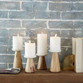 Decor/Accessories - Marble + Wood Candleholder | West Elm - marble and wood candleholder, modern wood candleholder, wood and marble pillar candleholder,