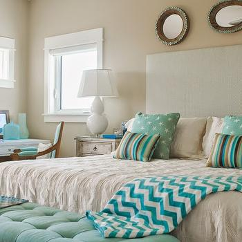 Teal Bench, Cottage, bedroom, Wendy Patrick Designs