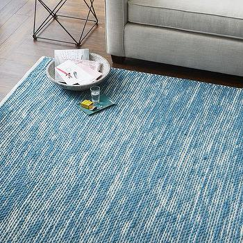 Rugs - Painters Cotton + Wool Rug - Aquamarine | West Elm - aquamarine blue rug, blue cotton and wool rug, textured blue rug,