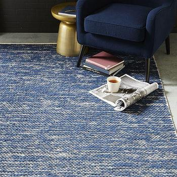 Rugs - Painters Cotton + Wool Rug - Midnight | West Elm - midnight blue rug, blue cotton and wool rug, textural blue rug,
