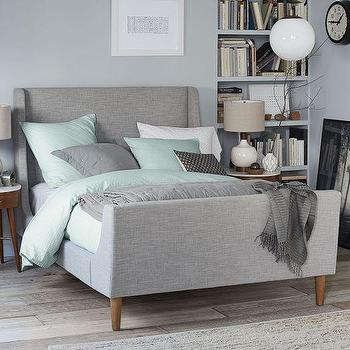 Beds/Headboards - Upholstered Sleigh Bed Set | West Elm - gray upholstered sleigh bed, modern upholstered sleigh bed, retro upholstered sleigh bed, gray sleigh bed,