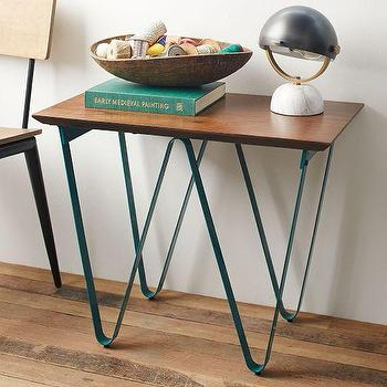 Tables - Triangle Base Side Table - Bermuda Blue | West Elm - modern iron based side table, triangular based side table, geometric based side table,