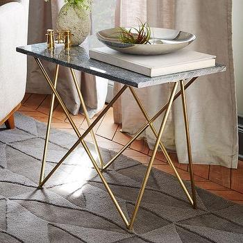Tables - Waldorf Side Table | West Elm - gray marble top side table, gray marble side table, geometric gold side table, gold based side table, modern marble side table,