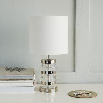 Lighting - Clear Disc Table Lamp - Small | West Elm - clear disc table lamp, acrylic disc table lamp, modern acrylic table lamp, acrylic and nickel table lamp,
