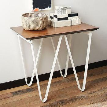 Tables - Triangle Base Side Table - White | West Elm - white iron side table, white triangle base side table, triangular iron based side table,