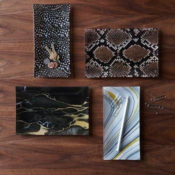 Decor/Accessories - Flora + Fauna Trays | West Elm - stone patterned glass tray, python glass tray, agate print glass tray, onyx print glass tray,