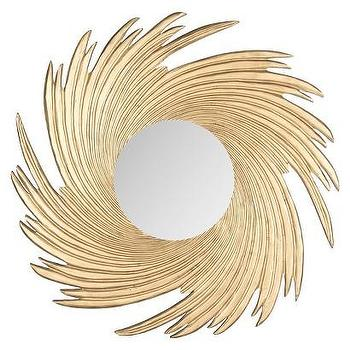 Mirrors - Safavieh Greenwich Mirror I Target - swirled sunburst mirror, round gold mirror, gold feathered mirror,