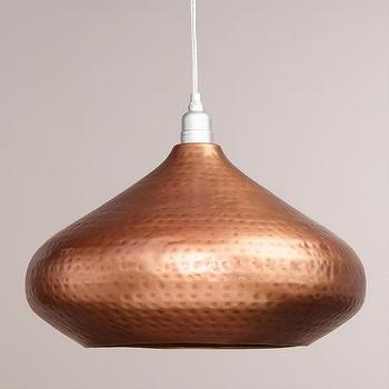 Lighting - Hammered Copper Hanging Pendant Lamp | World Market - copper pendant light, copper pendant lamp, hammered copper pendant light,
