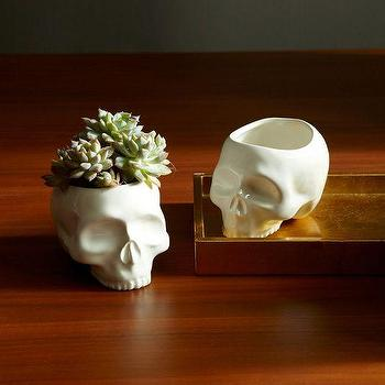 Miscellaneous - Skull Vase | West Elm - skull vase, skull shaped vase, ceramic skull vase,