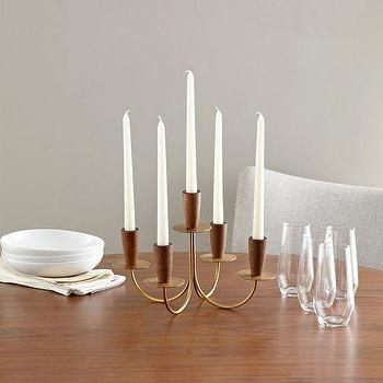 Decor/Accessories - Mid-Century Candelabra | West Elm - mid century style candelabra, brass and wood candelabra, 1950s candelabra, fifties style candelabra,