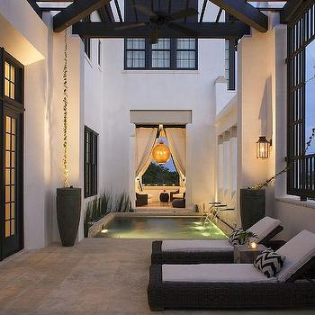 Alys Beach - decks/patios - concrete planters, mediterranean patio, mediterranean deck, outdoor lounge, chevron pillows, pool, in ground pool,